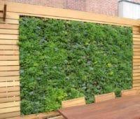 jardin vertical en terraza con pared de madera